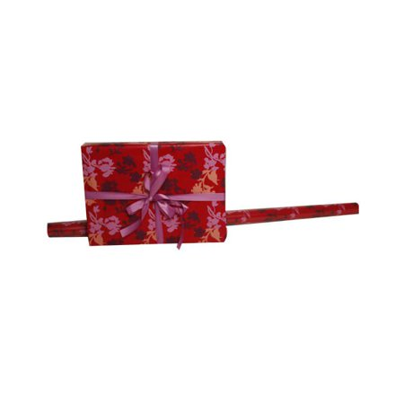 JAM Paper Wrapping Paper Rolls, 15 sq ft. Red Flower Design, Sold individually