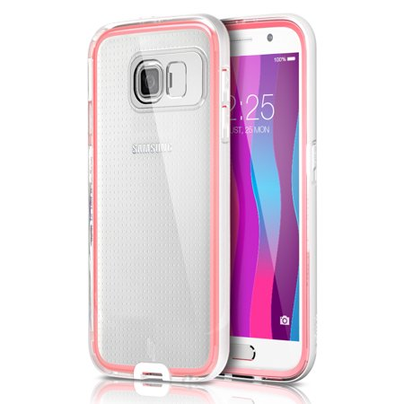 Galaxy S6 Case,ULAK Incoming Call Flash Message Blink Hybrid Cover with PC Hard Transparent Back Panel + Luminous Soft Protective Bumper for Samsung Galaxy S6 (White/Water Red)](samsung galaxy s6 warehouse)