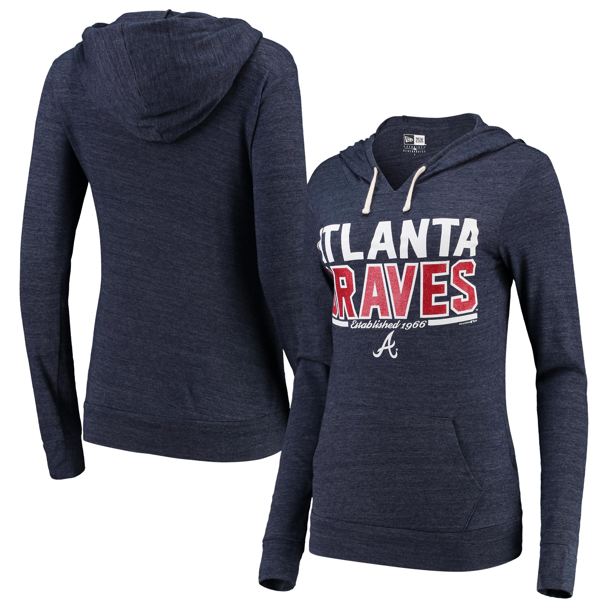 Atlanta Braves 5th & Ocean by New Era Women's Jersey Tri-Blend Pullover Hoodie - Heathered Navy