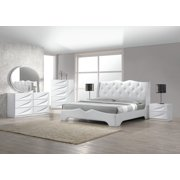 Modern Madrid 4 Piece Bedroom Set Queen Size Bed Leather Like Exterior  Mirror Dresser Nightstand White Lacquer Headboard With Like Crystals  Bedroom ...