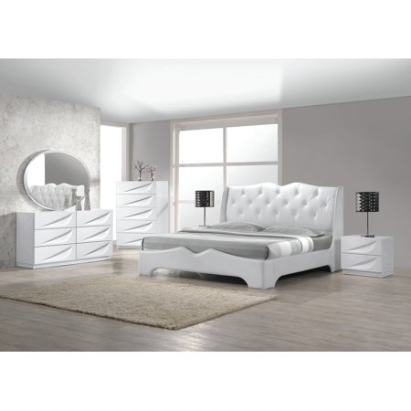 Modern Madrid 4 Piece Bedroom Set Eastern King Size Bed Leather Like  Exterior Mirror Dresser Nightstand White Lacquer Headboard With Like  Crystals ...