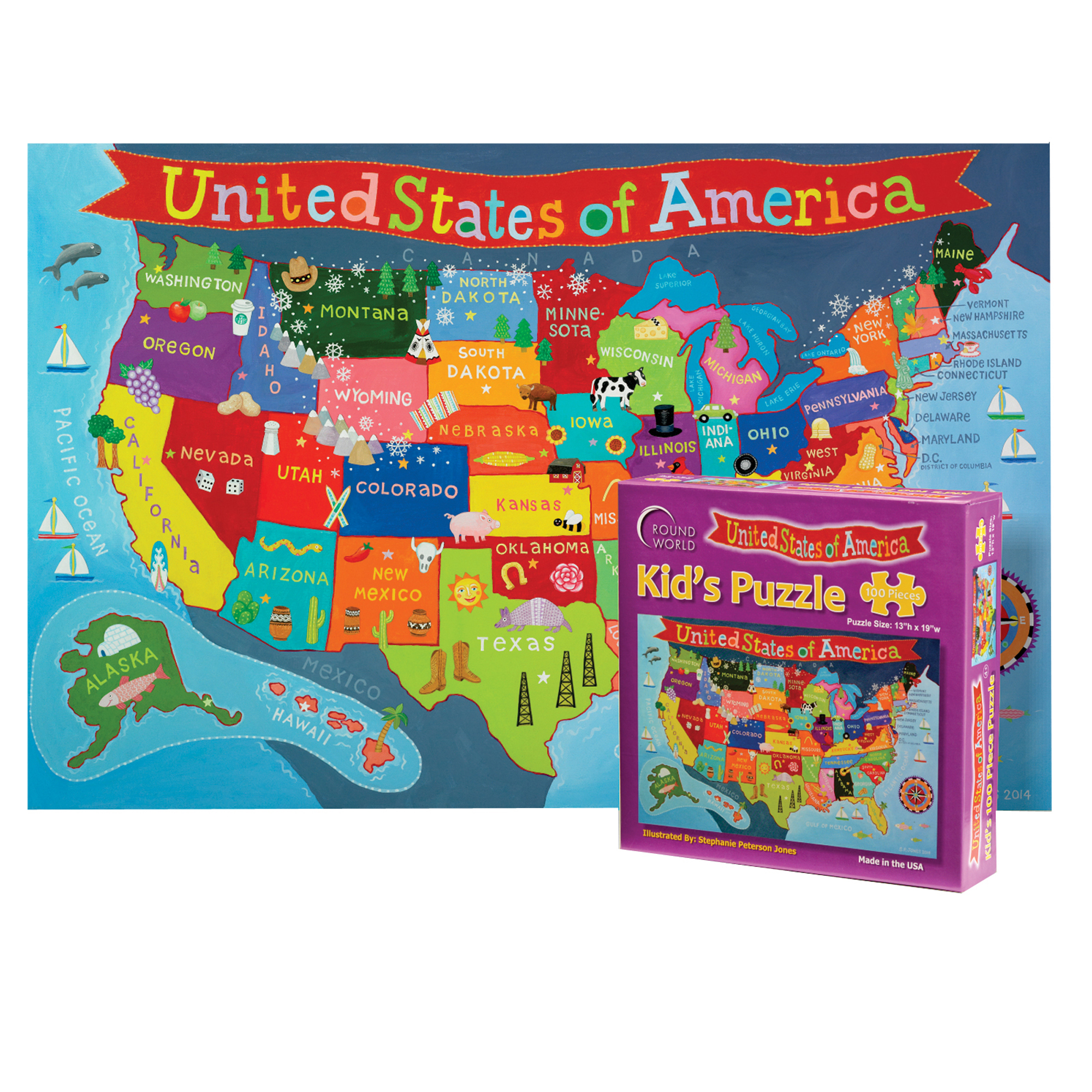 Imagination Generation Professor Poplar/'s Fifty Nifty United States USA Map