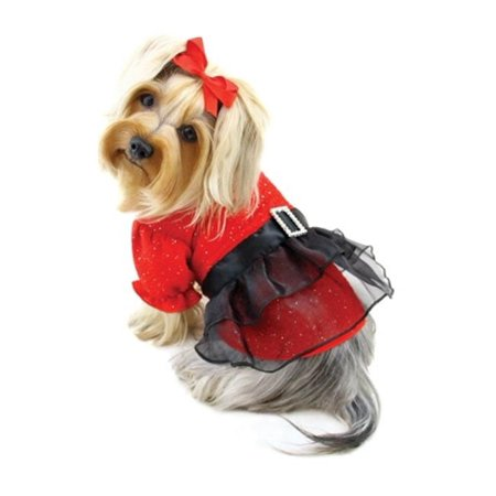 Puppy Sleeve - KlippoPet KDR059LZ Sparkling Dress With Puffy Sleeves - Red, Large