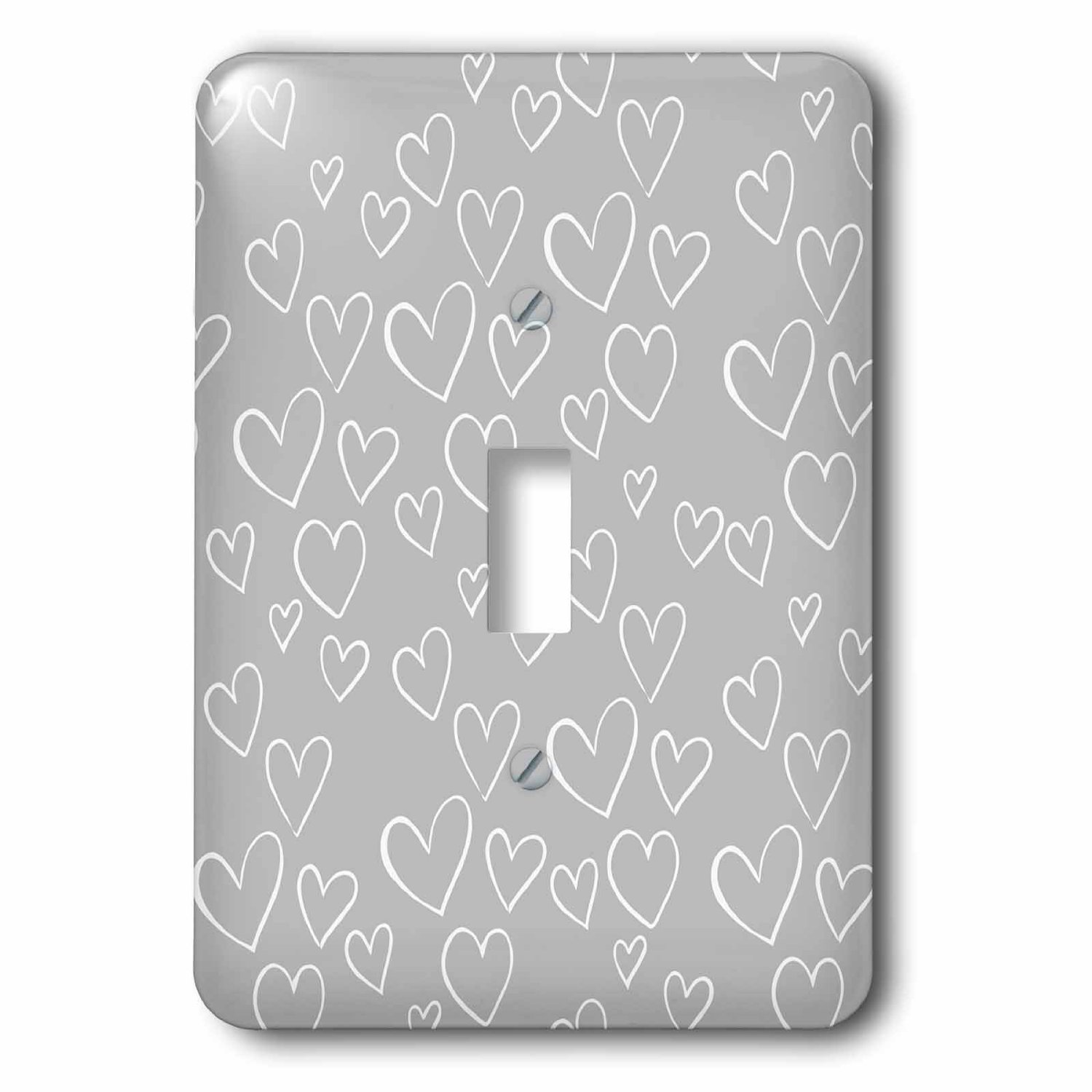 Image of 3dRose Grey and White Hearts, Single Toggle Switch