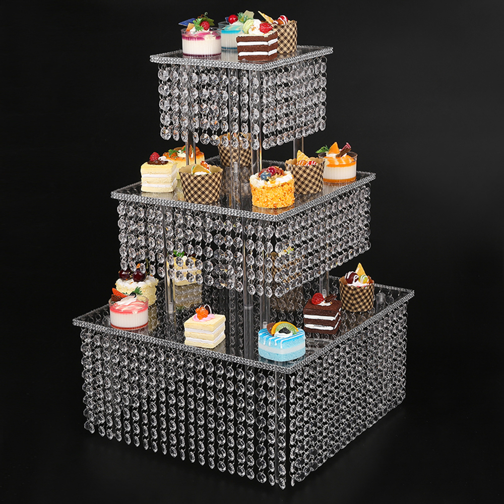 clear 3 tier cupcake stand with chandelier grade crystal clear acrylic drops bling crystal cake