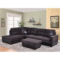 Lifestyle Furniture LF105A Avellino Left Hand Facing Sectional Sofa, Dark Chocolate - 35 x 103.5 x 74.5 in.