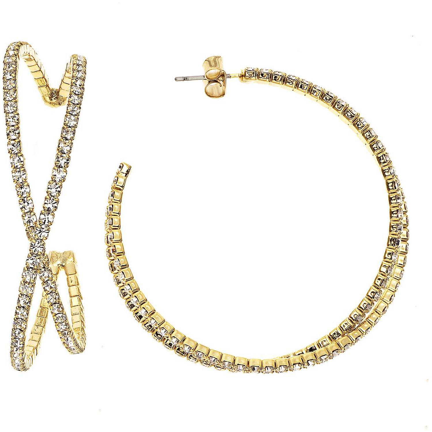X & O Handset Austrian Crystal Yellow Gold-Plated 45mm Bypass Earrings