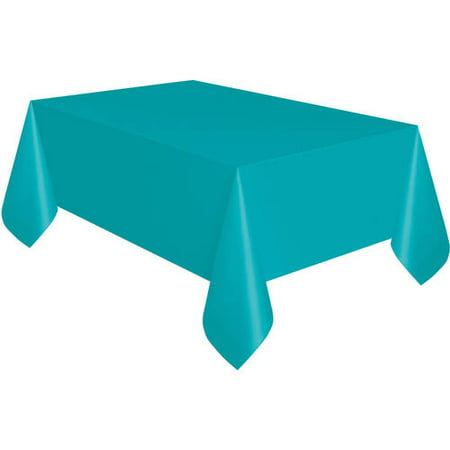 Teal Plastic Party Tablecloth, 108 x 54in - Christmas Plastic Tablecloths