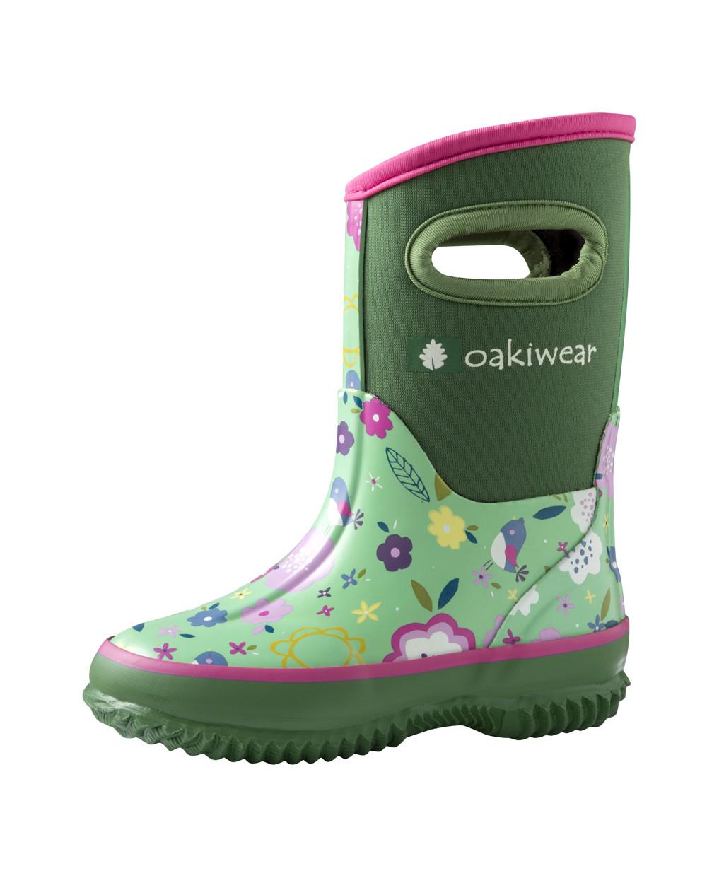 Children's Neoprene Rain/Snow Boots, Green Floral