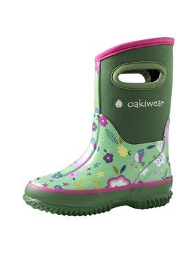 Oakiwear Children's Neoprene Rain/Snow Boots, Green Floral