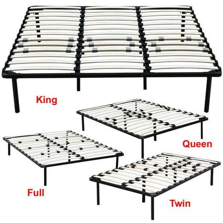 Zimtown Wood Slats Metal Platform Bed Frame Mattress Foundation Twin Full Queen King