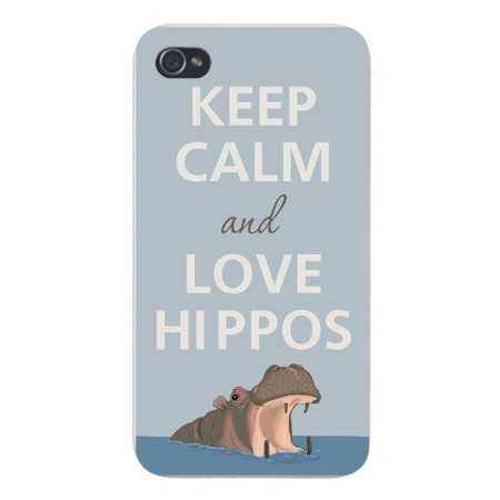 Apple Iphone Custom Case 4 4s White Plastic Snap on - Keep Calm and Love Hippos w/ Water (Hippo Iphone 4 Case)