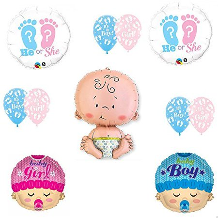 Gender Reveal He She Footprints Baby Shower Balloon Supplies (Baby Footprint)