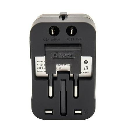 Travel Adapter-World Universal Multi-function 2 USB Travel Wall Plug Adapter AU/UK/US/EU Plug (Uk Multi Plug)