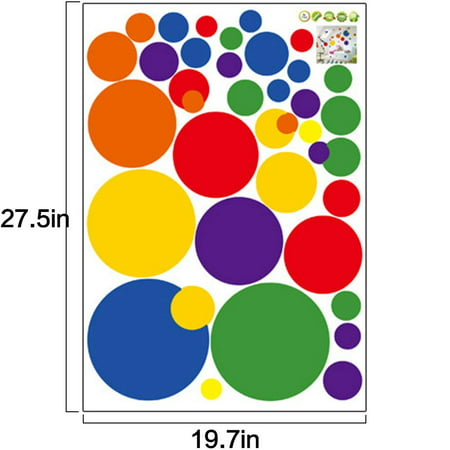 FeelGlad Room Mates -  Primary Colors Just Dots Peel and Stick  Wall Stickers Removable PVC Glass Wall Decals Circle Dots for Kids Rooms Living Rooms