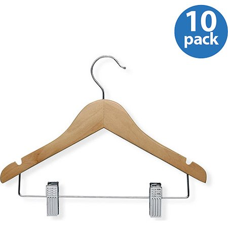 Honey Can Do Kid's Wood Hanger with Clips, Maple Finish (Pack of 10) (Maple Wood Coat Hanger)