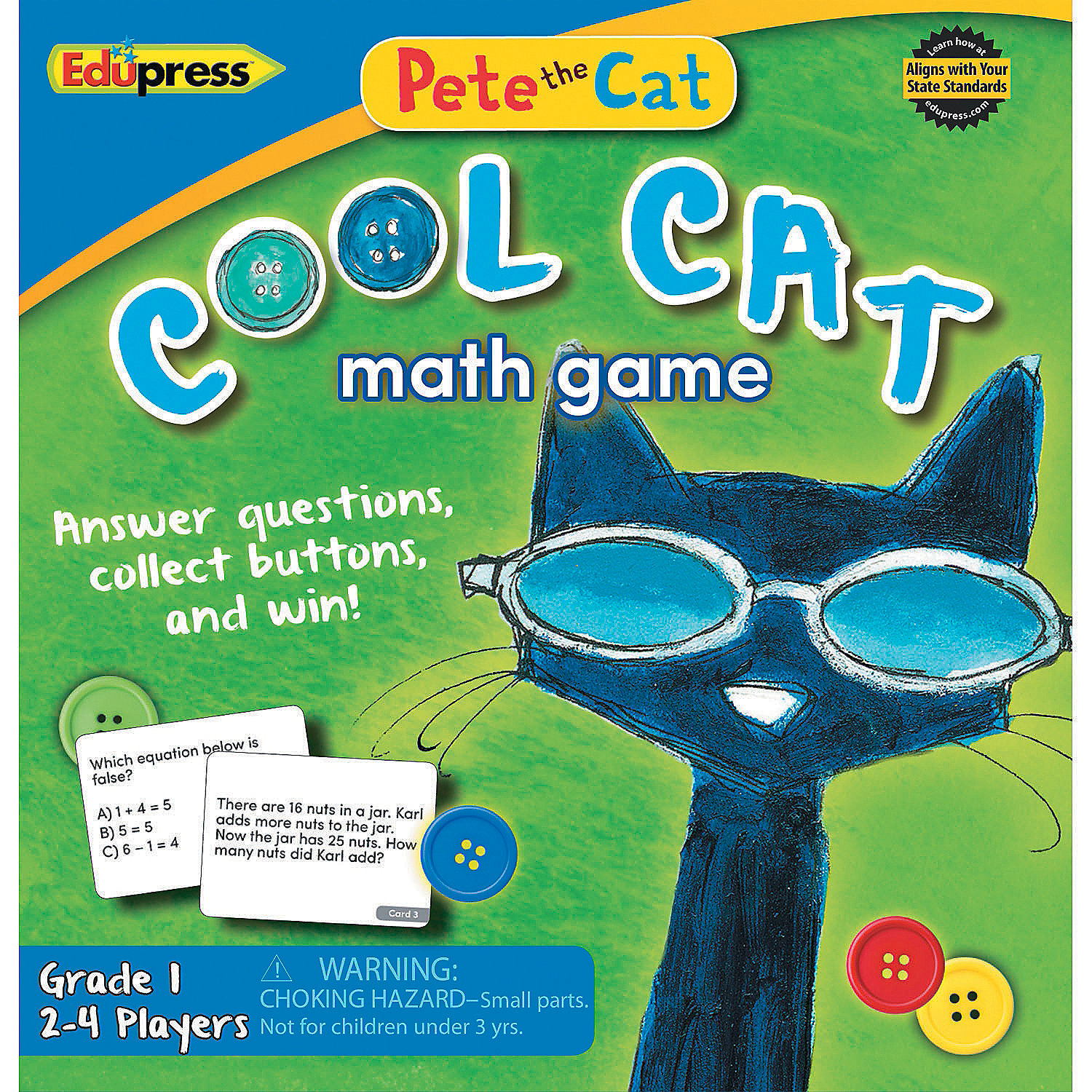 IN-13872077 Pete The Cat Cool Cat Math Game G-1 By Fun Express