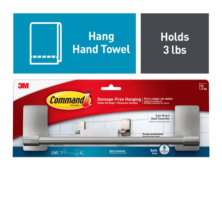 3M Command Damage-Free Hand Towel Bar, Hangs 3 pounds, Hang without Tools, 1 bar, 4 strips (BATH41-SN-ES) 3 Piece Bathroom Towel Bar