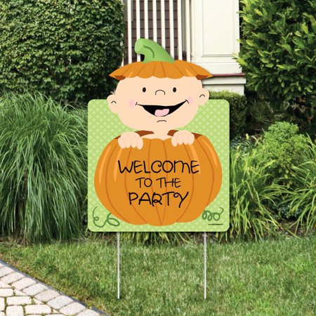 Little Pumpkin Caucasian - Party Decorations - Baby Shower or Birthday Party Welcome Yard Sign