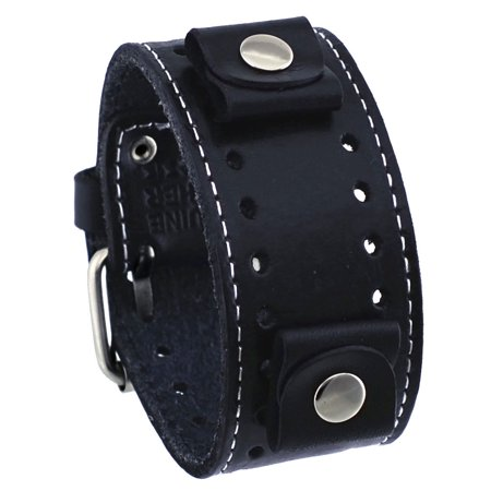 STH-K Black Wide Leather Cuff Wrist Watch Band