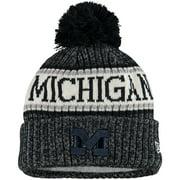Michigan Wolverines New Era Team Logo Sport Cuffed Knit Hat with Pom - Navy - OSFA