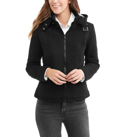 - Yoki Women's Quilted Sherpa Lined Fleece Jacket With Removable Hood