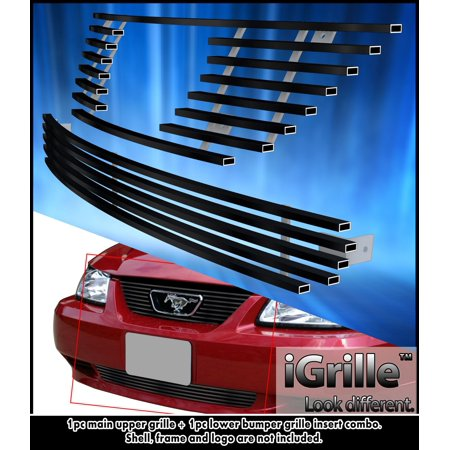 Fits 1999-2004 Ford Mustang V6/V8 GT Stainless Steel Black Billet Grille