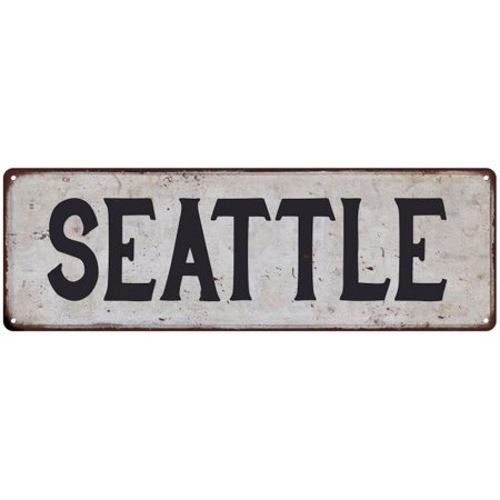 Party City Seattle (SEATTLE Vintage Look Rustic Metal Sign Chic City State Retro)