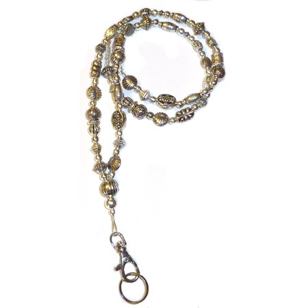 Hidden Hollow Beads Slim Sliver Women's Beaded Fashion Lanyard Necklace, Jewelry ID Badge and Key Holder, 34 in. (Sliver Sliver)