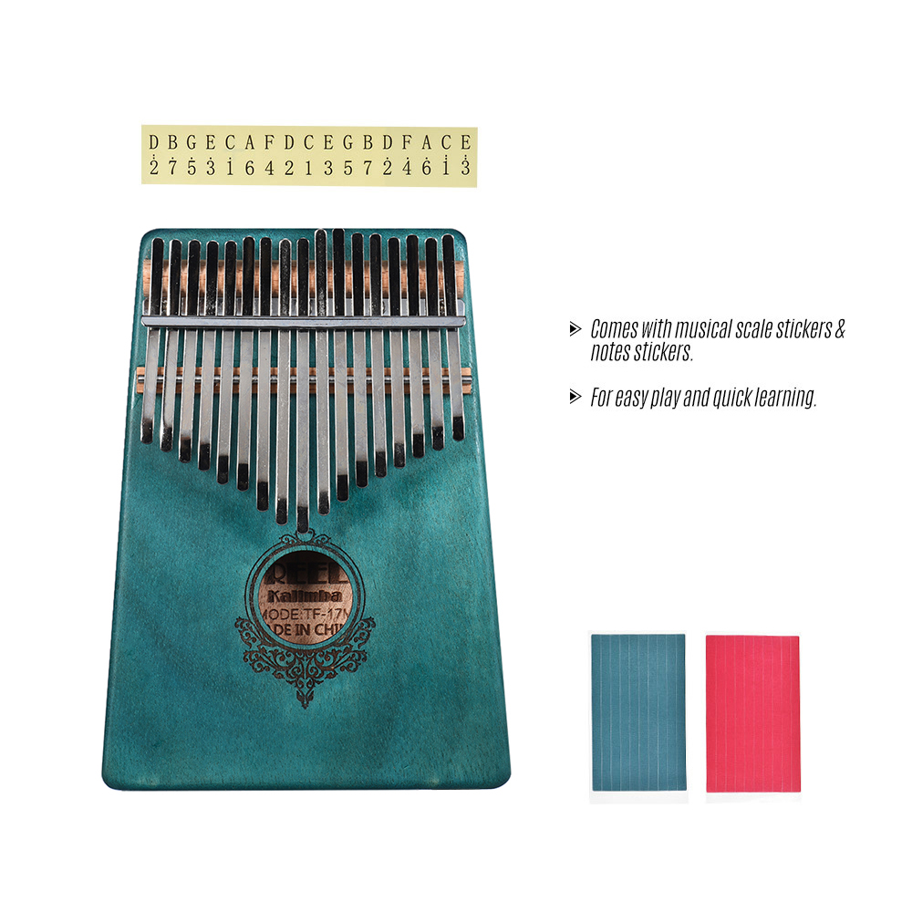 17-key Kalimba Portable Thumb Piano Mbira Mahogany Wood with Carry Bag Stickers Tuning Hammer Cleaning Cloth Finger Stall Musical Gift for Students Beginners