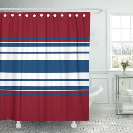 PKNMT Navy Abstraction of White Blue and Red Stripes Bandage Shower Curtain 60x72 inches