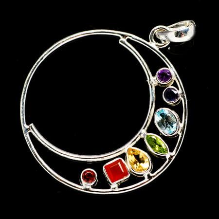 Hand Stamped Silver Jewelry - Multi-Stone Chakra Moon Pendant 2