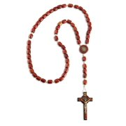 """Mens Saint Benedict Rosary Cross Necklace,  Wooden Beads & 2.5"""" Cross Crucifix by Catholica Shop, 19 Inch"""
