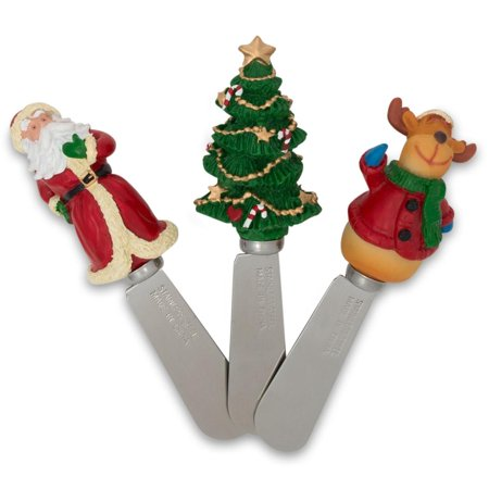 3 Santa, Reindeer, and Christmas Tree Butter Spreaders - Plain Butter Spreader