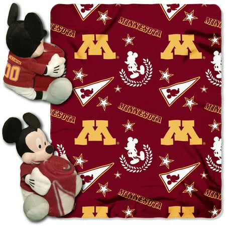 Official NCAA and Disney Cobrand Minnesota Gophers Mickey Mouse Hugger Character Shaped Pillow and 40