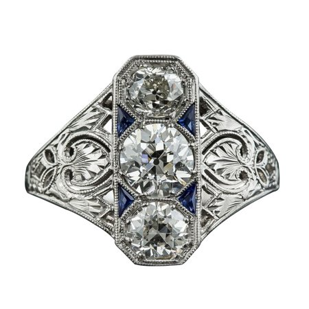 Deco White Topaz Blue Sapphire Gem Ring Women Wedding Jewelry