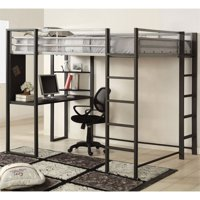Furniture of America Mattelius Full Loft Bed in Silver and Gun Metal