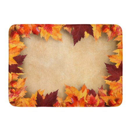 SIDONKU Brown Leaf Autumn Leaves Vintage Orange Fall Border Halloween Pumpkin Doormat Floor Rug Bath Mat 23.6x15.7 inch - Level 4 100 Floors Halloween