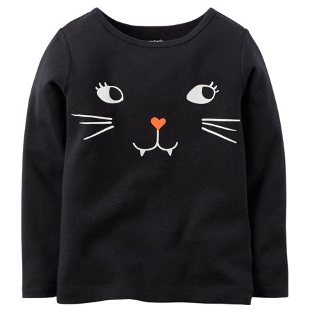 Carters Baby Clothing Outfit Girls Glow-In-The-Dark Halloween Tee Black Cat Face - Carters Halloween Canada