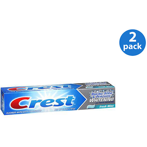 (2 Pack) Crest Baking Soda & Peroxide Whitening with Tartar Protection Fresh Mint Flavor Toothpaste 6.4 oz.