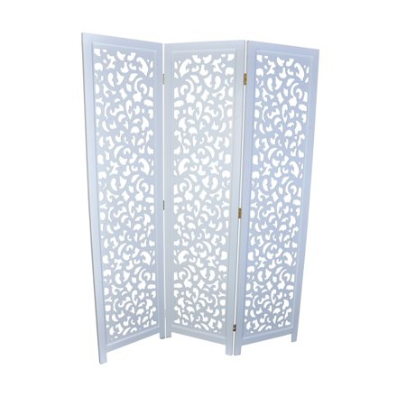 (3 Panel Solid Wood Screen Room Divider, White Color With Decorative Cutouts, By Legacy Decor)