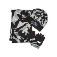 Batman Boys 3-Piece Hat, Gloves, Scarf Gift Set