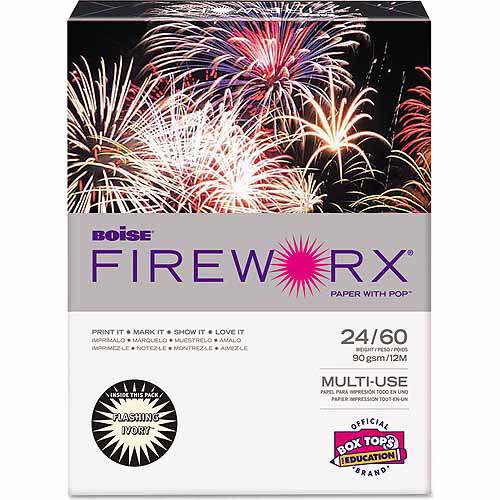 "Boise Fireworx Colored Paper, 8.5"" x 11"", Flashing Ivory, 500 Sheets"