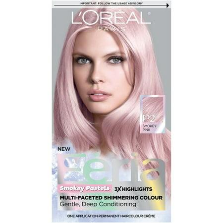 L'Oreal Paris Feria Pastels Hair Color, P2 Rosy Blush (Smokey Pink), 1 kit Pink Hair Dye
