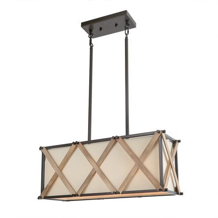 - LNC 3-Light Farmhouse Chandeliers Kitchen Island Lighting in Handmade Antique Metal and Wood Finish with Beige Linen Shade