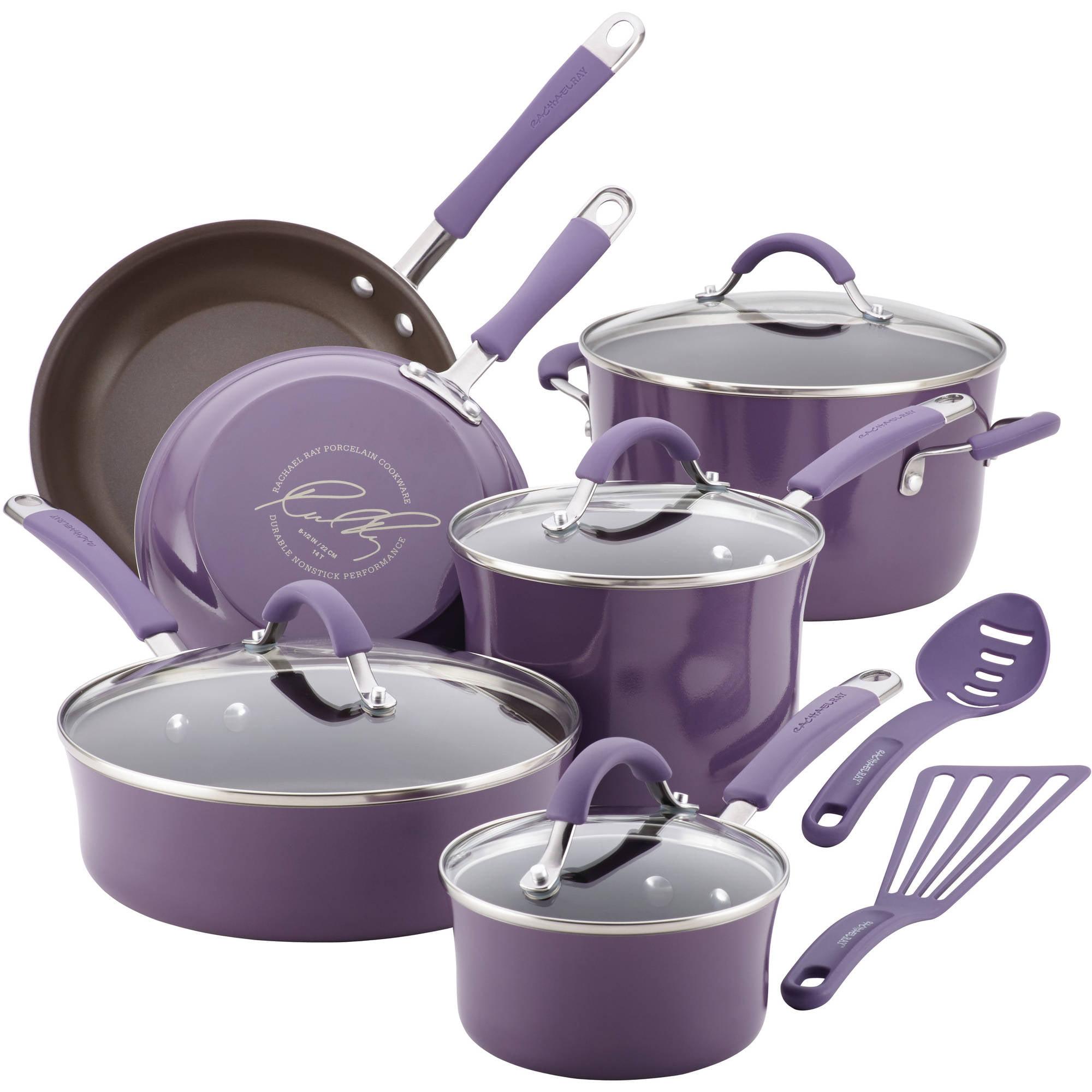 Rachael Ray Cucina Hard Porcelain Enamel Nonstick Cookware Set, 12 ...