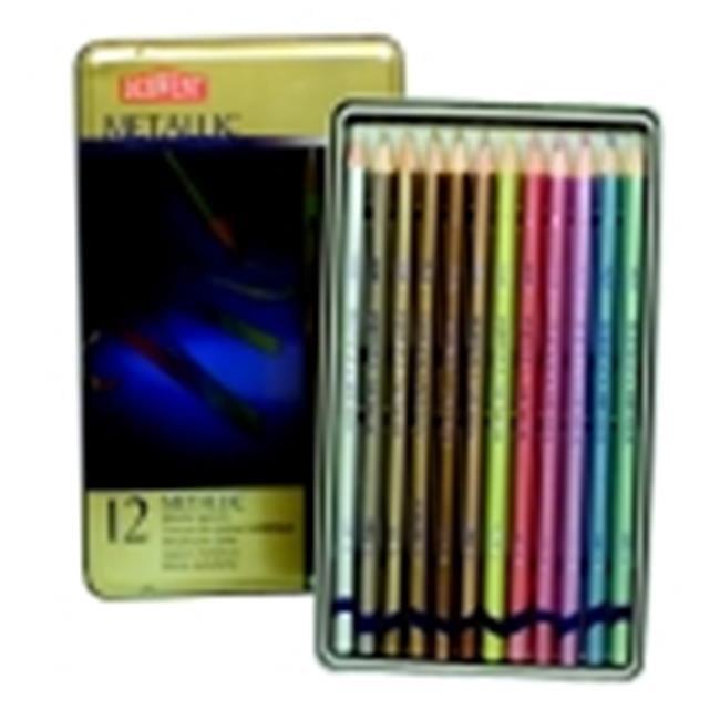 Derwent Highly Reflective Non-Toxic Colored Pencil Set, Metallic Color, Set - 12