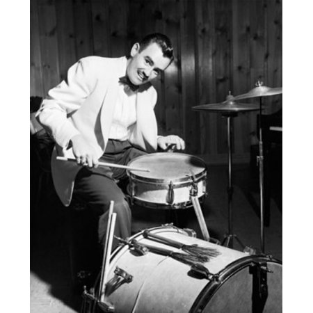 Portrait of a mid adult man playing drums Canvas Art -  (18 x 24)
