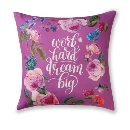 - Mainstays Floral Work Hard Dream Big Throw Pillow