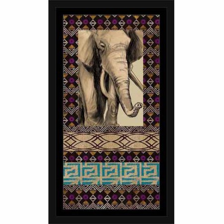 Safari Elephant Drawing Sketch with Tribal Pattern Distressed Painting Black & Blue, Framed Canvas Art by Pied Piper Creative